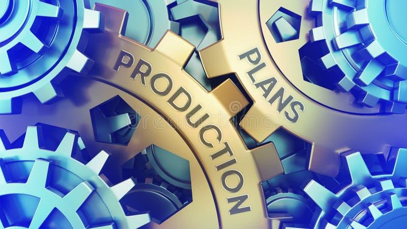 Produktion plant Konzept Stahlillustration gang weel Mechanismus Nahaufnahme 3d Wörter aufgeprägt auf Metalloberfläche stockbilder