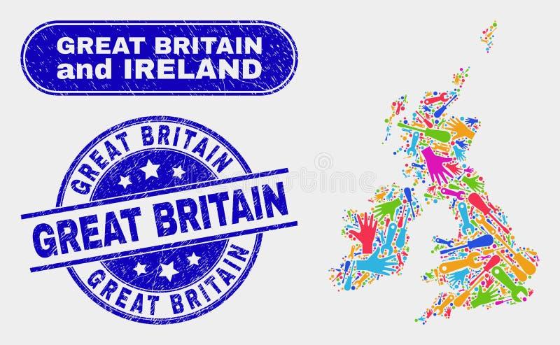 Produktion Storbritannien och Irland översikt och att bedröva Storbritannien stämpelskyddsremsor stock illustrationer