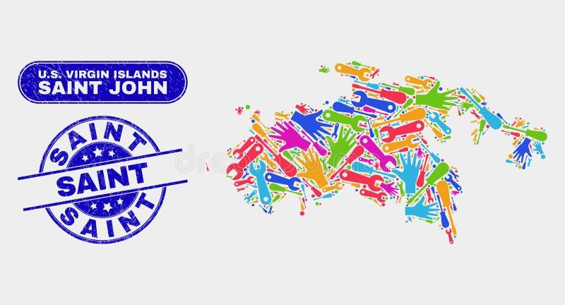 Produktionhelgon John Island Map och Sanka skyddsremsor för Grunge royaltyfri illustrationer