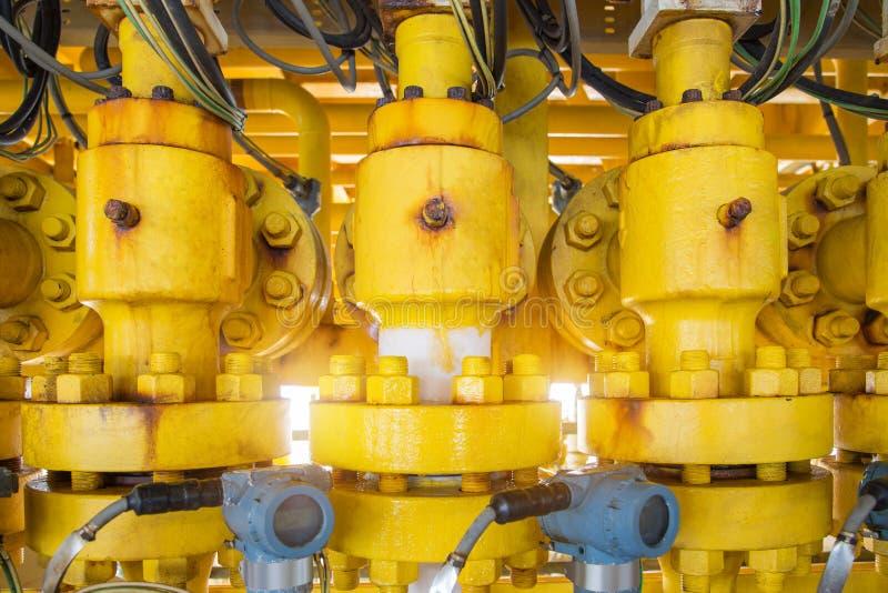 Produktionkvävningsventil med is på att leda i rör tack vare högtryckdroppe inom röret och höga procent av koldioxid i naturgas royaltyfri bild