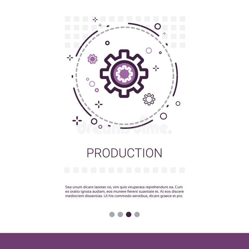 Produktions-Zahn-Rad-Geschäfts-Industrie-Netz-Fahne mit Kopien-Raum vektor abbildung