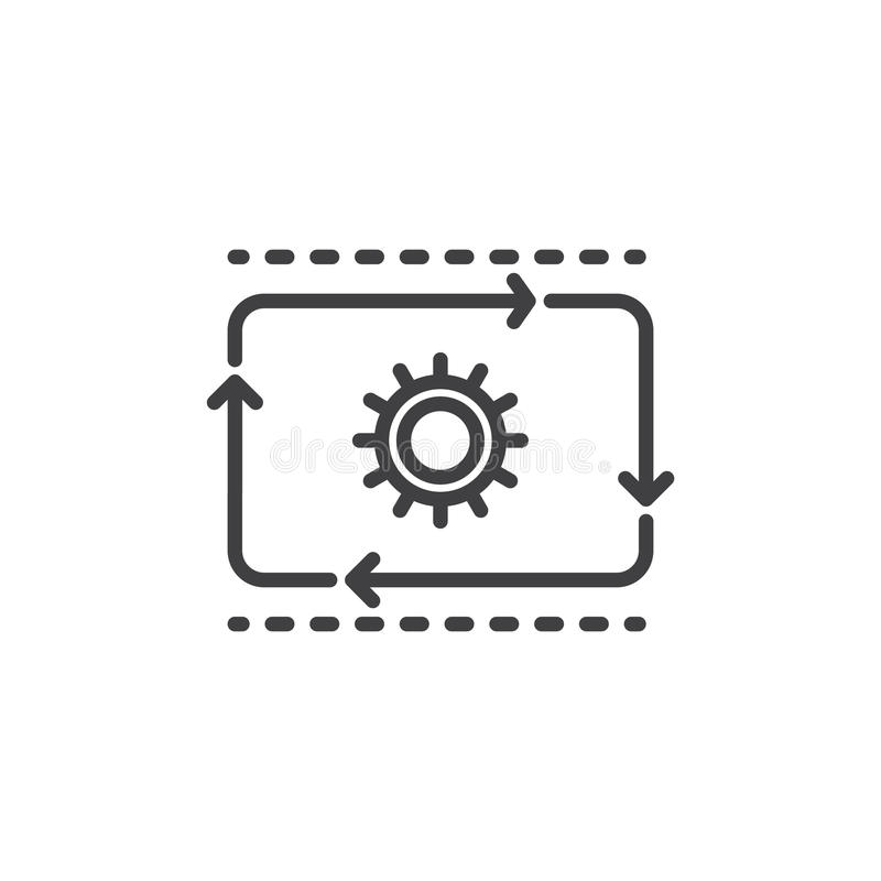 Produktionsablauflinie Ikone, Entwurfsvektorzeichen, lineares Artpiktogramm lokalisiert auf Weiß vektor abbildung