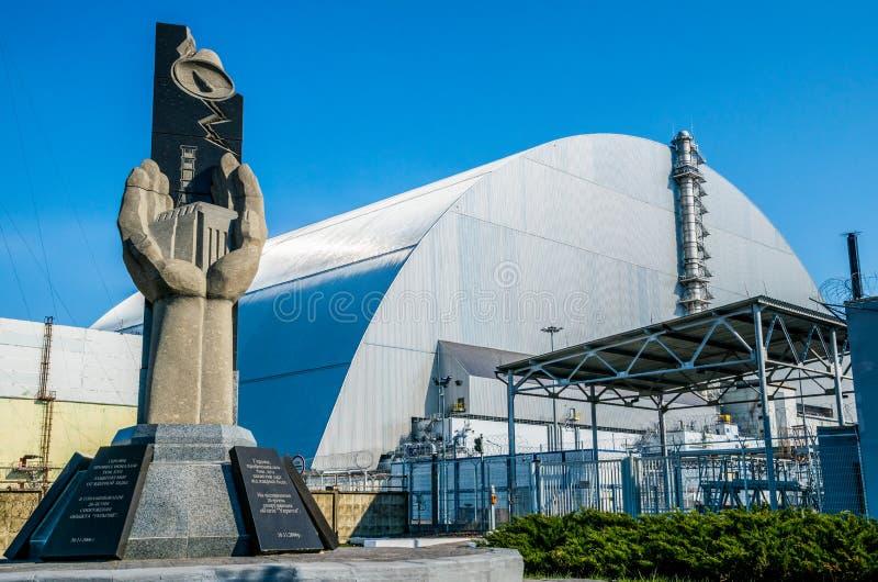 Produktionsanlagen des Atomkraftwerks Tschornobyls, Ukraine Vierte Notstromeinheit und Ausschlusszone stockbild