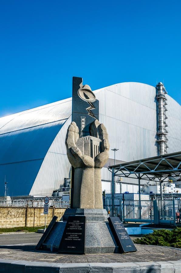Produktionsanlagen des Atomkraftwerks Tschornobyls, Ukraine Vierte Notstromeinheit und Ausschlusszone stockfotos