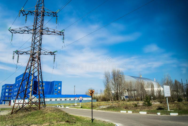 Produktionsanlagen des Atomkraftwerks Tschornobyls, Ukraine Vierte Notstromeinheit und Ausschlusszone lizenzfreies stockbild