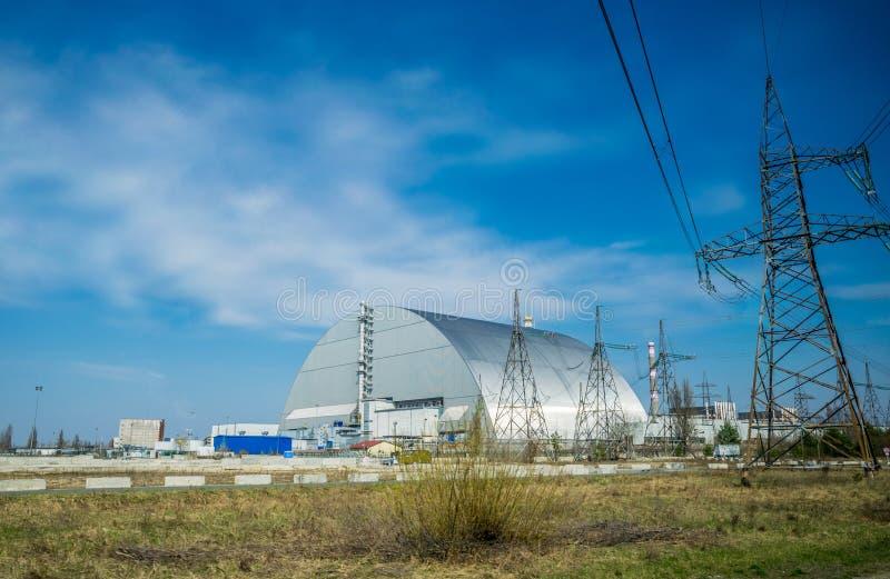Produktionsanlagen des Atomkraftwerks Tschornobyls, Ukraine Vierte Notstromeinheit und Ausschlusszone lizenzfreie stockfotos