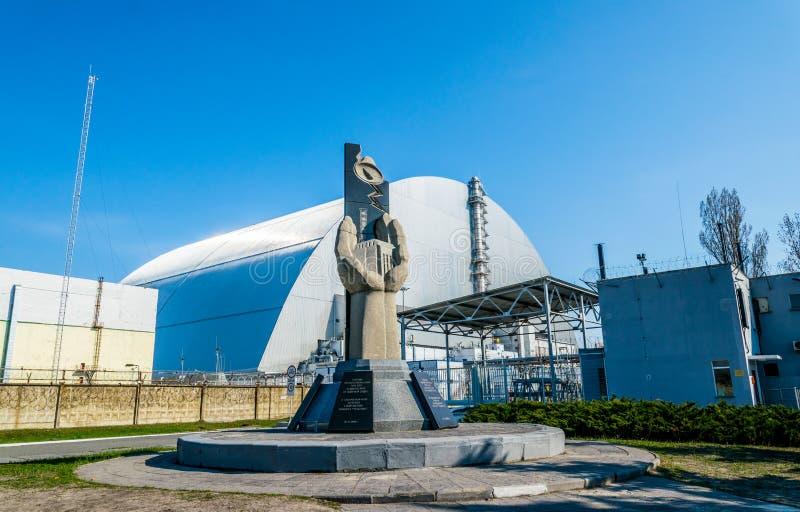 Produktionsanlagen des Atomkraftwerks Tschornobyls, Ukraine Vierte Notstromeinheit und Ausschlusszone stockfoto