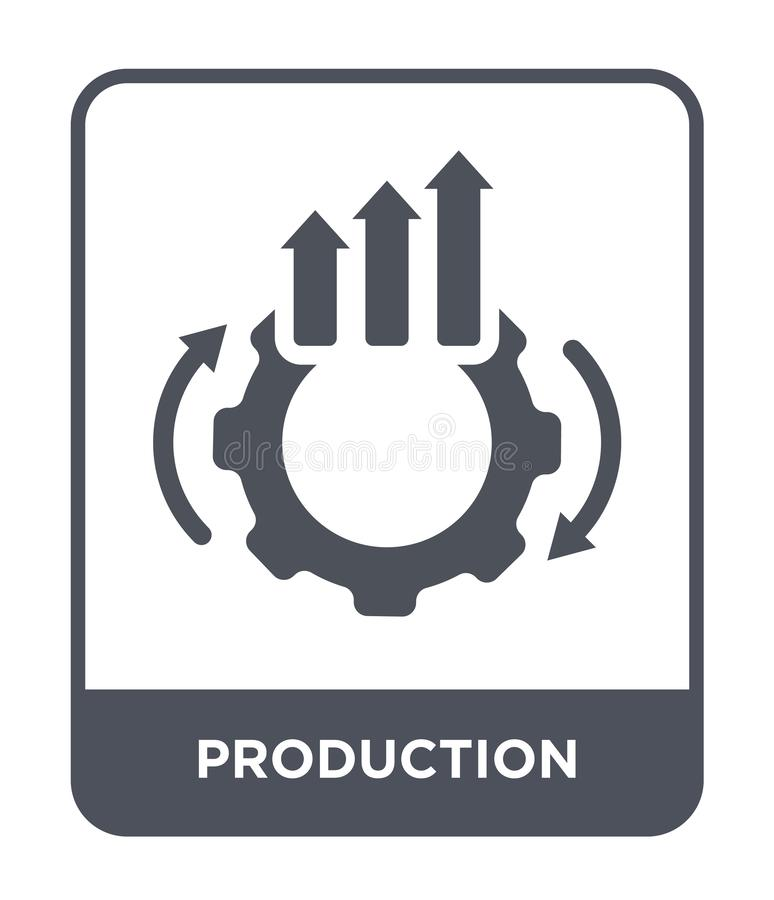 Produktionsikone in der modischen Entwurfsart Produktionsikone lokalisiert auf weißem Hintergrund Produktionsvektorikone einfach  lizenzfreie abbildung