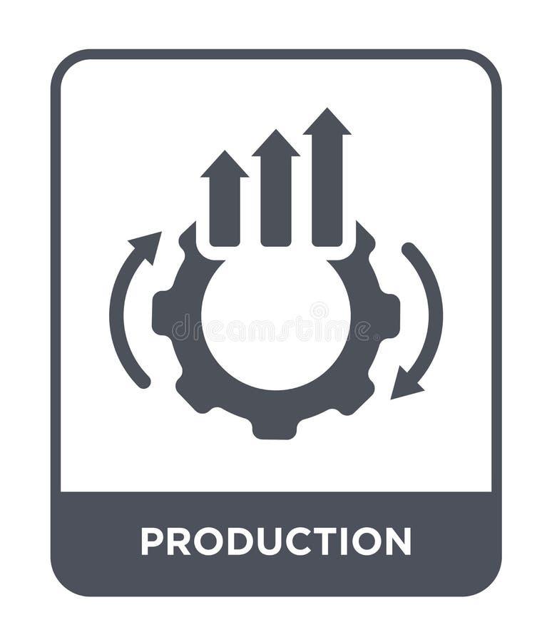produktionsymbol i moderiktig designstil produktionsymbol som isoleras på vit bakgrund modern produktionvektorsymbol som är enkel royaltyfri illustrationer