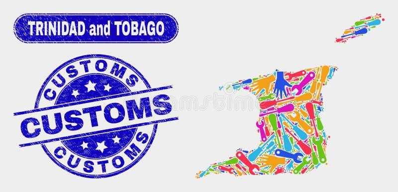 ProduktionTrinidad och Tobago översikt och att bedröva egenar för att stämpla skyddsremsor stock illustrationer
