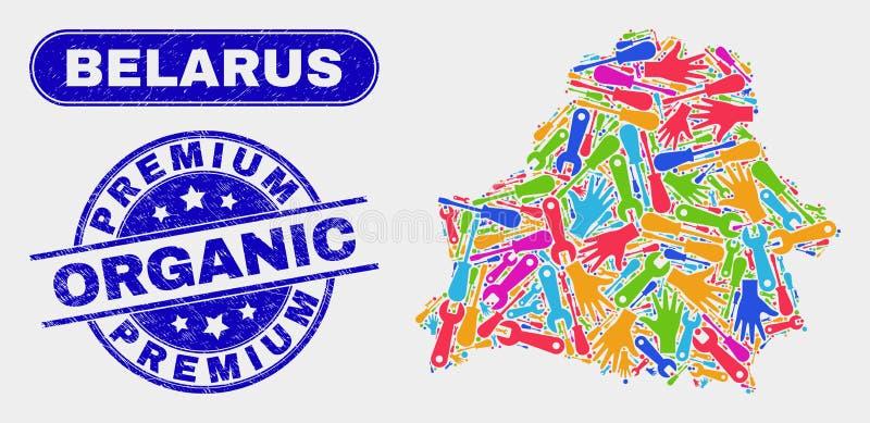 ProduktionVitryssland översikt och skrapade högvärdiga organiska vattenstämplar stock illustrationer