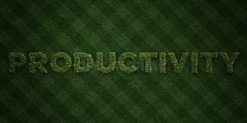PRODUKTIVITÄT - neue Grasbuchstaben mit Blumen und Löwenzahn - 3D übertrug freies Archivbild der Abgabe stock abbildung