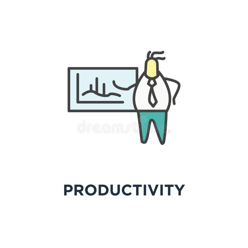 Produktivitätsarmaturenbrettikone, netter Geschäftsmann, der einen Geschäftsanalytics oder -intelligenz analysieren, Vertretungsv stock abbildung