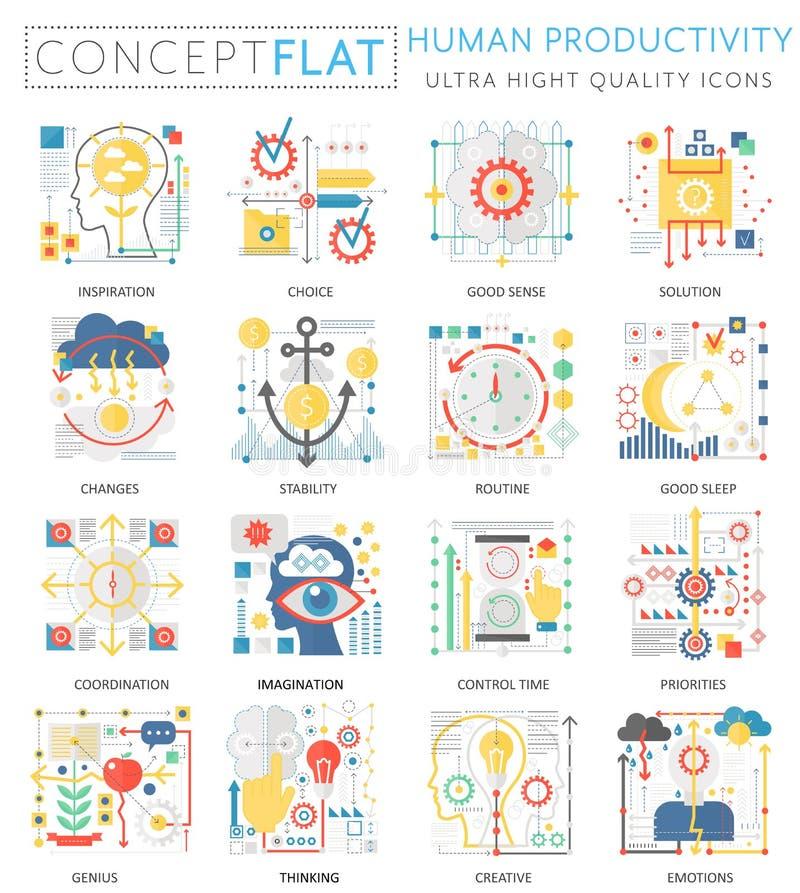 Produktivitätsikonen Minikonzeptes Infographics menschliche für Netz Erstklassige Qualitätsfarbflache Design-Netzbegrifflichgraph lizenzfreie abbildung
