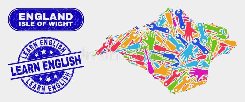 Produktivitetsön av Wightöversikten och Grunge lär engelska vattenstämplar stock illustrationer