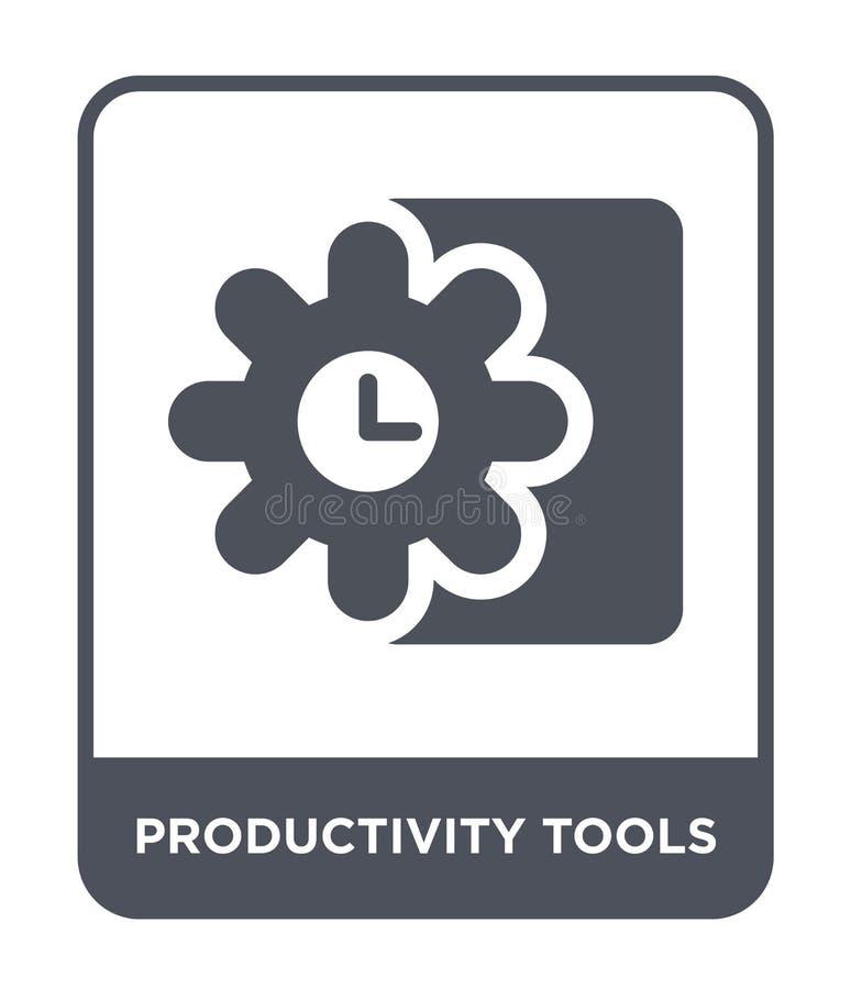 produktivitetshjälpmedelsymbol i moderiktig designstil produktivitetshjälpmedelsymbol som isoleras på vit bakgrund produktivitets vektor illustrationer