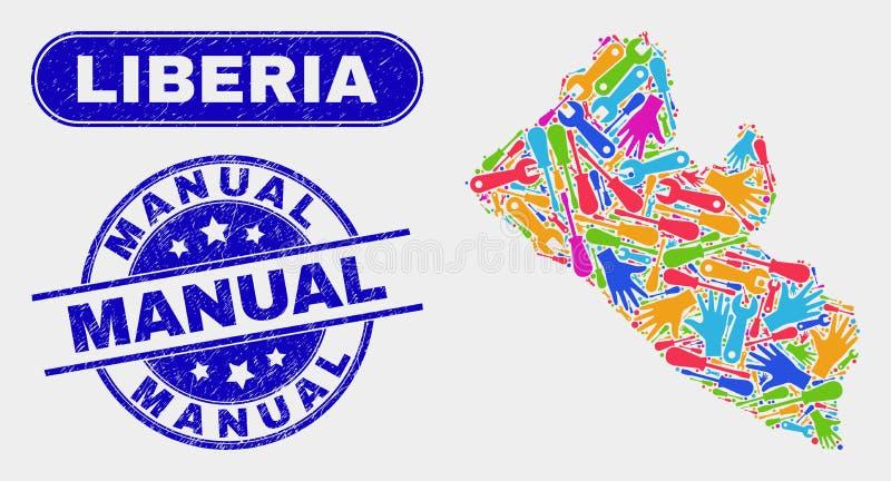 ProduktivitetsLiberia översikt och att bedröva manuella vattenstämplar stock illustrationer