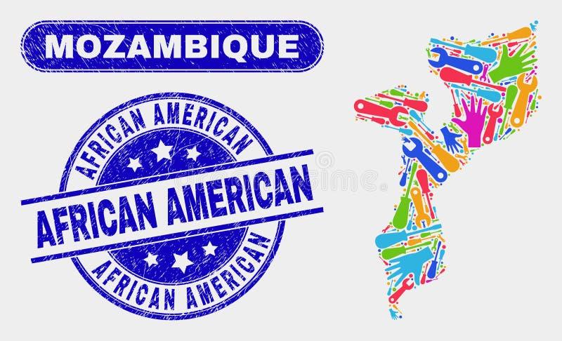 ProduktivitetsMocambique översikt och att bedröva afrikansk amerikanstämpelskyddsremsor royaltyfri illustrationer