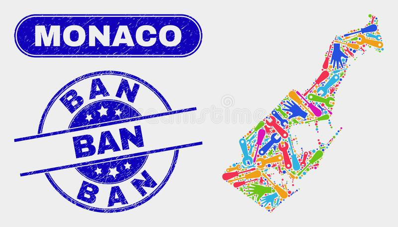 ProduktivitetsMonaco översikt och skrapade förbudvattenstämplar stock illustrationer