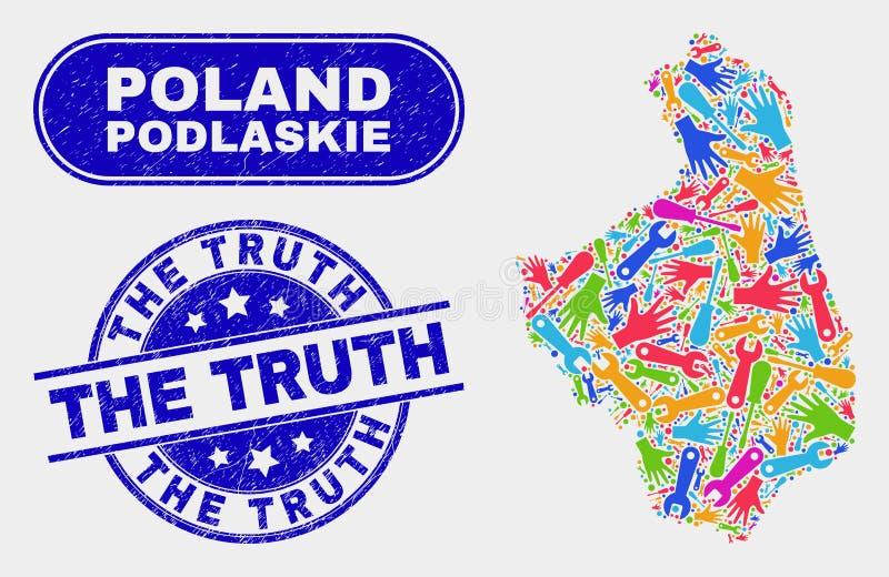 ProduktivitetsPodlaskie Voivodeship översikt och Grunge sanningsvattenstämplarna stock illustrationer