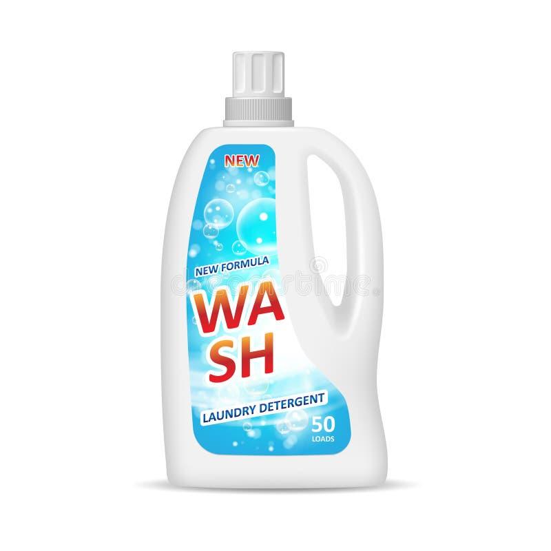 Produktpackedesign annons för flaska för fläckborttagningsmedel med vattentvagningen och bubblor på blå bakgrund 3D buteljerar royaltyfri illustrationer