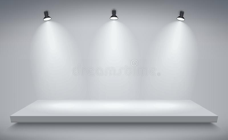 Produktpresentationspodium, vit etapp, tom vit sockel, tom mallmodell vektor stock illustrationer
