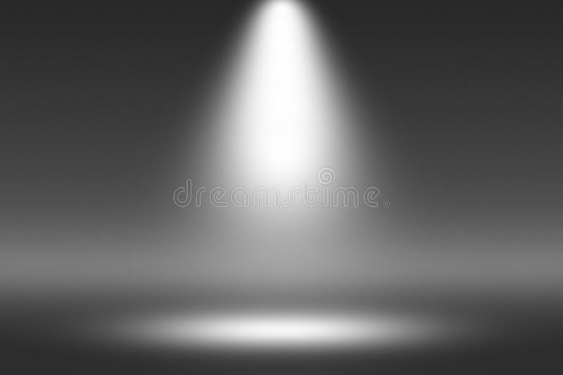 Produktu Showscase światło reflektorów na Czarnym tle - Ciemnego pokoju fotografa studio ilustracja wektor
