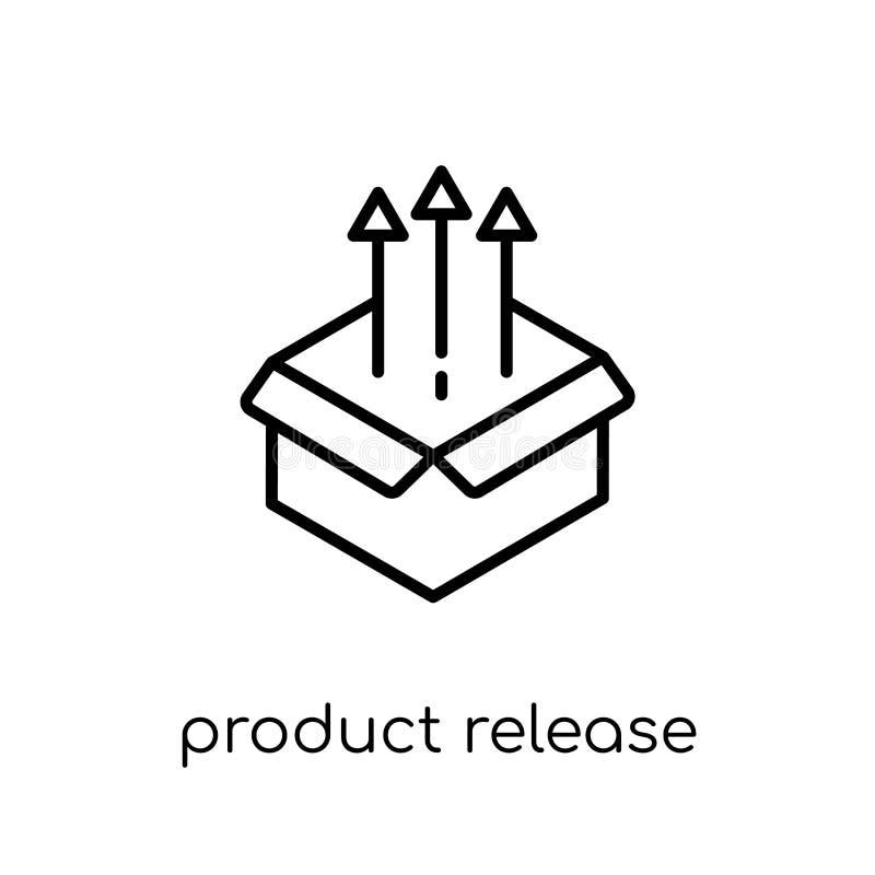 produktu uwolnienia ikona Modny nowożytny płaski liniowy wektorowy produkt r royalty ilustracja