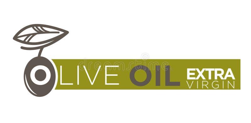 Produktvektor-Aufkleberextraschablone des Olivenöls reine stock abbildung