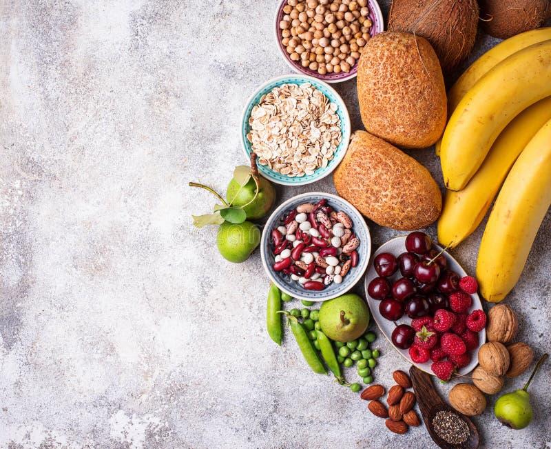 Produkty bogaci w włóknie dietetyczne jedzenie zdrowe obraz stock