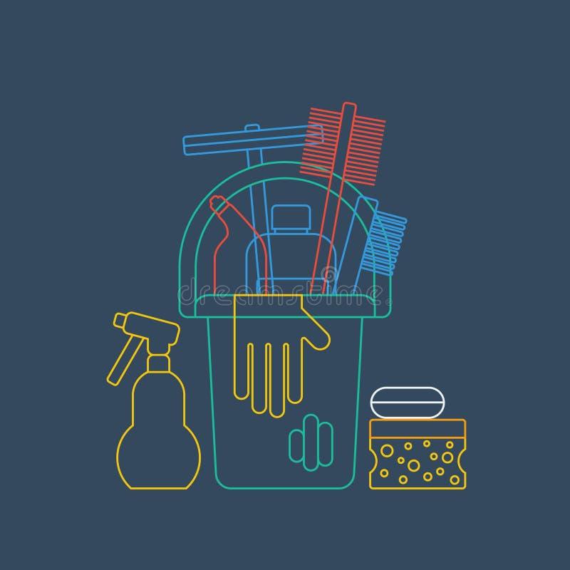 Produkty dla czyści domu, domowych obowiązek domowy, wiadra i rękawiczki, liniowa ikona ilustracji