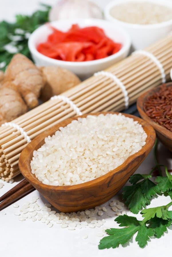 Produkty dla Japońskiej kuchni, ryż, imbiru i pikantność, odgórny widok fotografia stock