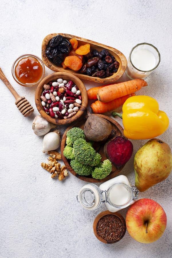 Produkty dla zdrowej kiszki Jedzenie dla żyłki obrazy stock