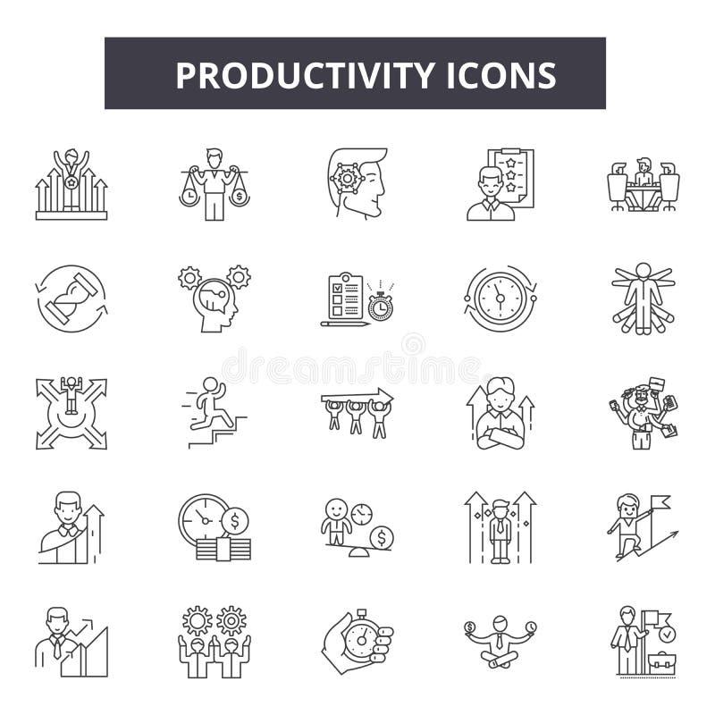 Produktywność kreskowe ikony, znaki, wektoru set, kontur ilustracji pojęcie royalty ilustracja