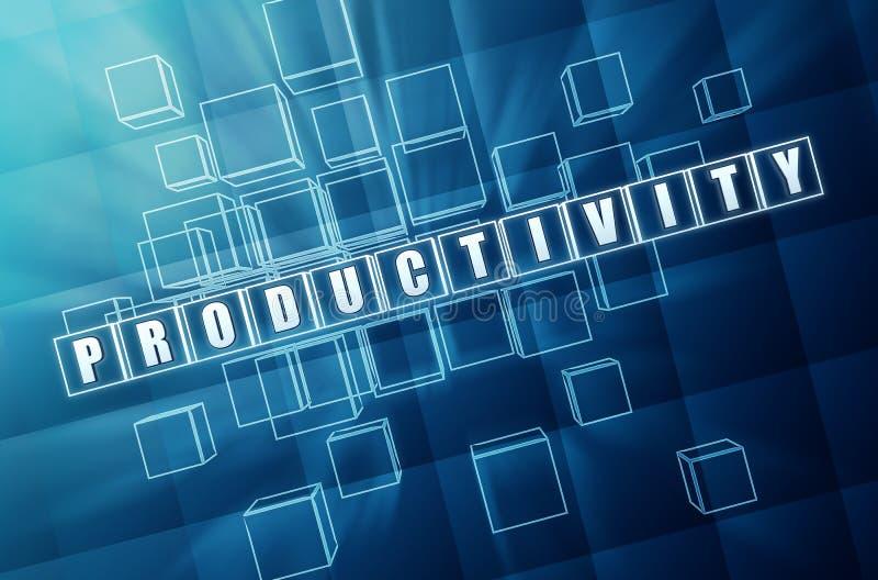 Produktywność w błękitnych szklanych sześcianach ilustracji