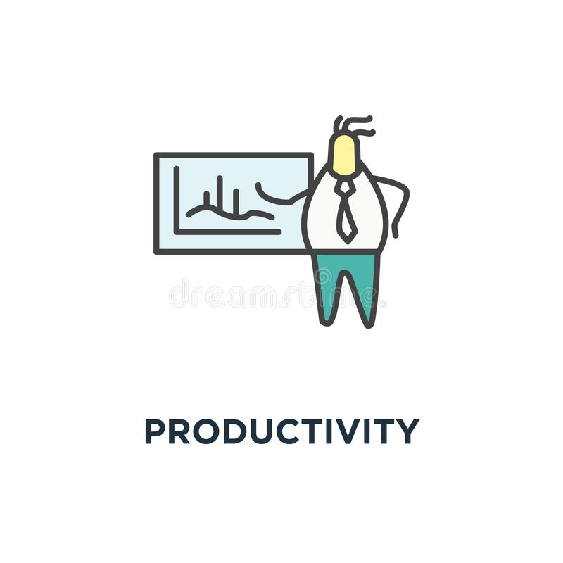 produktywności deski rozdzielczej ikona, śliczny biznesmena analizować lub inteligencja, biznesowe analityka, pokazywać sprzedaże ilustracji