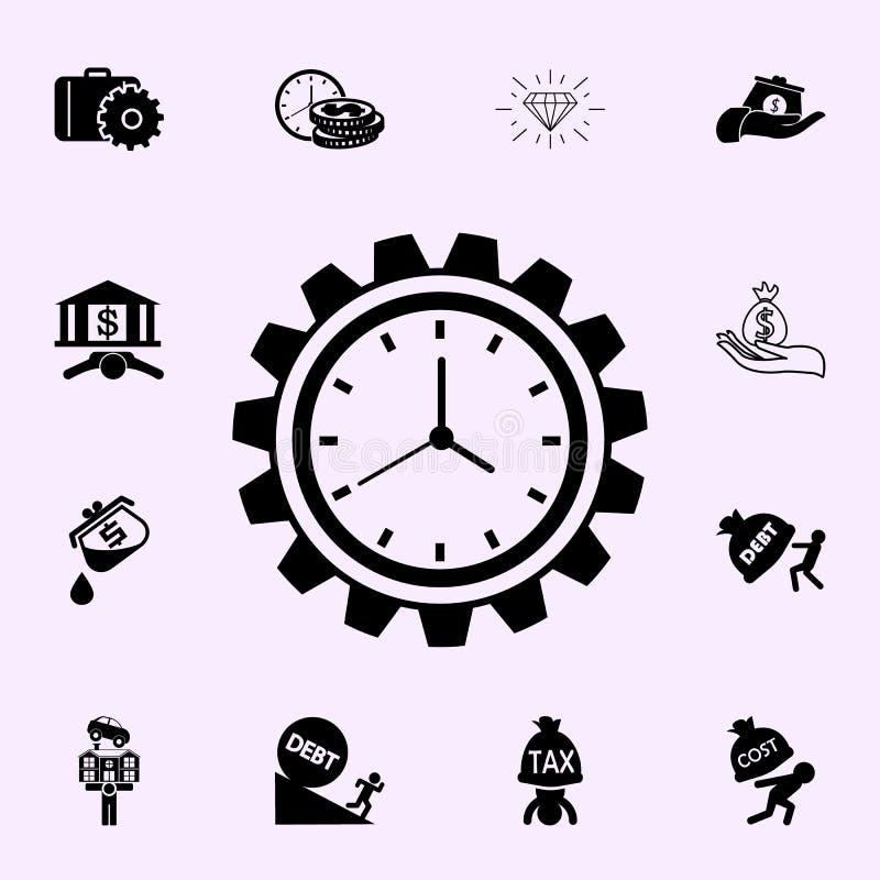 Produktywno?ci ikona Zyskuje ikony og?lnoludzkiego ustawiaj?cego dla sieci i wisz?cej ozdoby ilustracja wektor