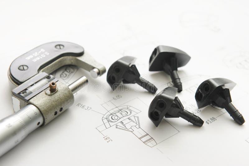 Produktzeichnung und Messen-Hilfsmittel stockbild