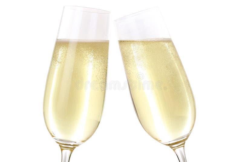 Produrre un pane tostato con due vetri di Champagne fotografia stock