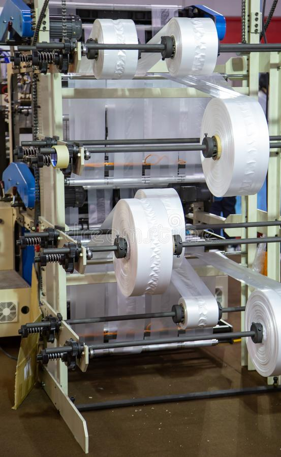 Prodution of plastic bag, Extruder. Extruder of polyethylene for industry process of plastic bag royalty free stock image