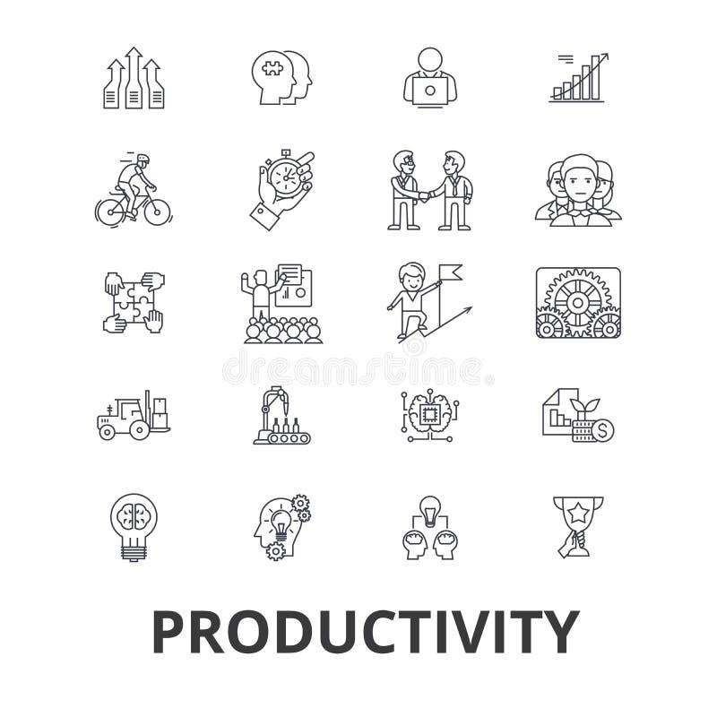 Produtividade, eficiência, aumento, inovação, negócio, crescimento, linha ícones do lucro Cursos editáveis Projeto liso ilustração royalty free