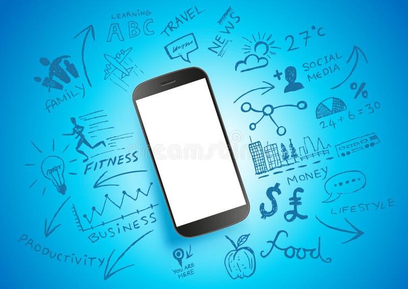 Produtividade móvel ilustração do vetor