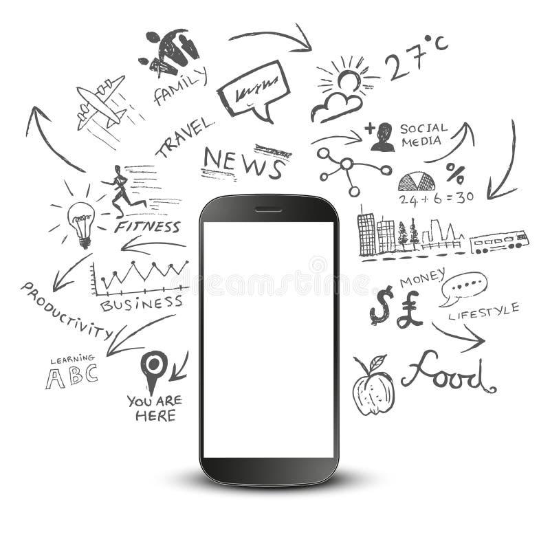 Produtividade móvel ilustração royalty free