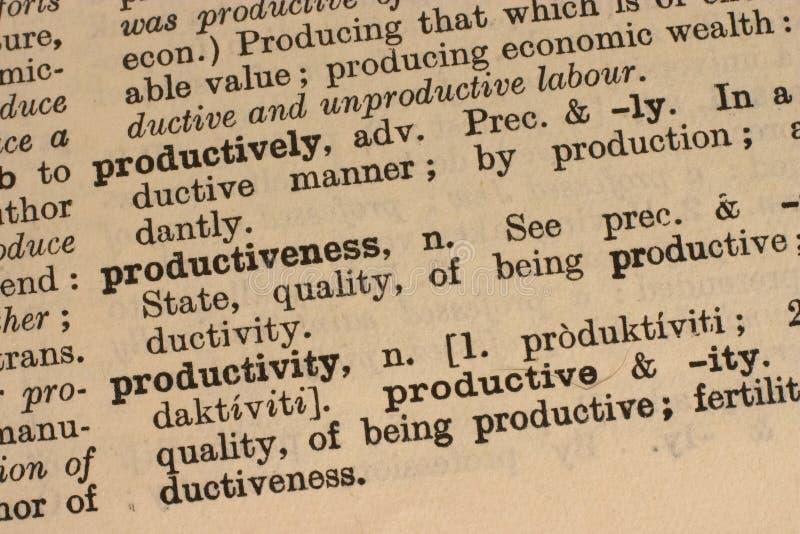 Produtividade - palavra do negócio imagens de stock