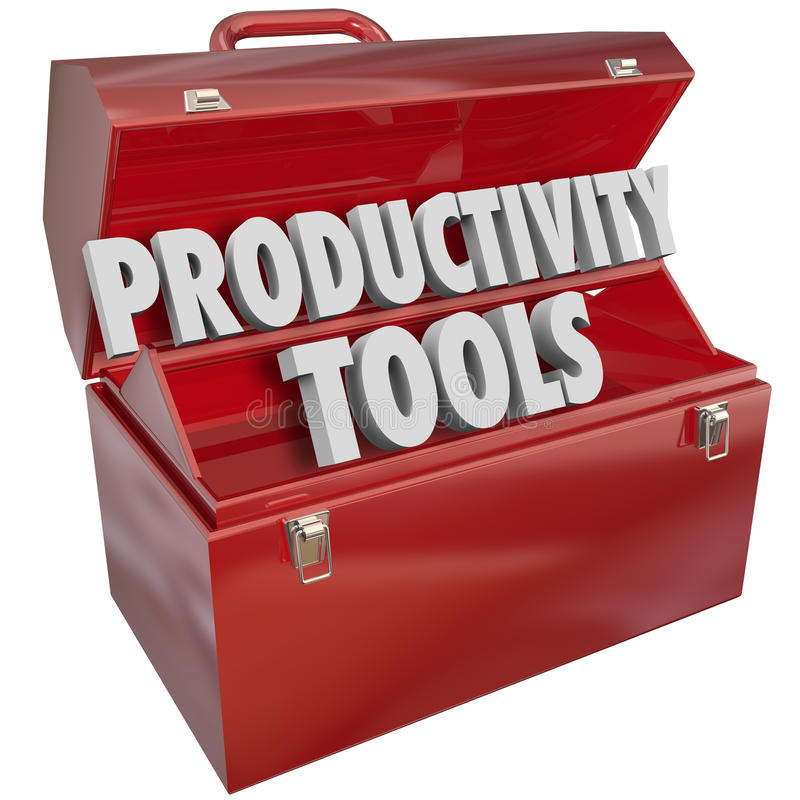 A produtividade utiliza ferramentas habilidades de trabalho eficientes Knowle da caixa de ferramentas das palavras ilustração stock