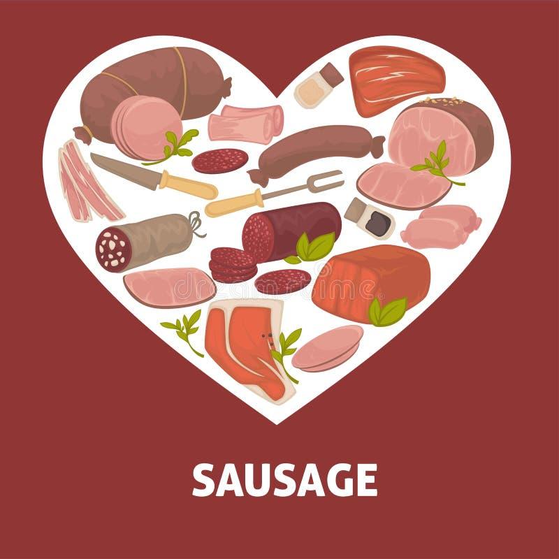 Produto de carne do alimento da loja do açougue da salsicha ilustração do vetor
