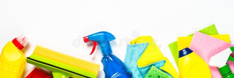 Produto de limpeza, agregado familiar no formato longo branco foto de stock