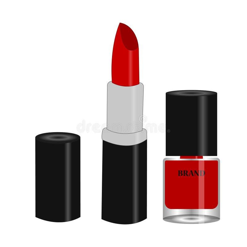 Produto do batom das mulheres e verniz para as unhas vermelho na garrafa de vidro com copo preto ilustração stock