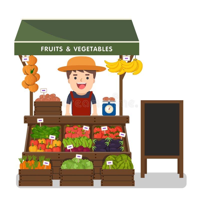 Produto local dos vegetais da venda de fazendeiro do mercado ilustração stock
