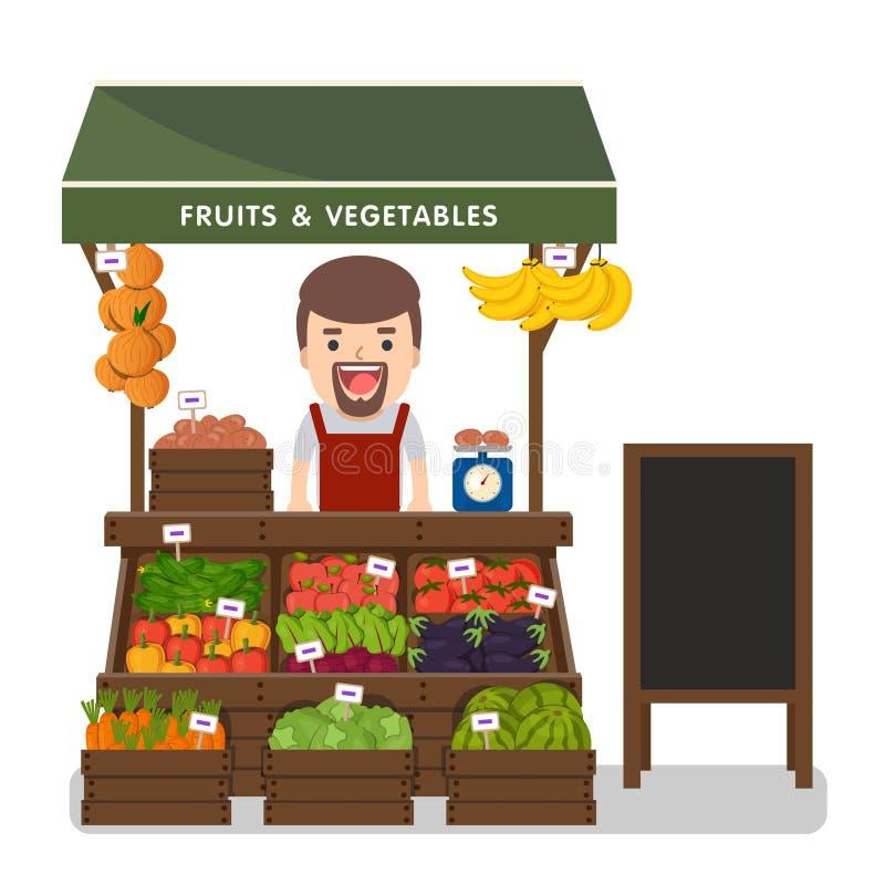 Produto local dos vegetais da venda de fazendeiro do mercado ilustração royalty free